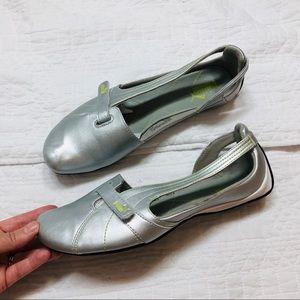 Puma silver leather velcro ballet flats sz9.5